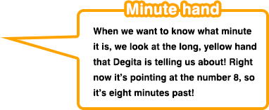 Minute hand When we want to know what minute it is, we look at the long, yellow hand that Degita is telling us about! Right now it's pointing at the number 8, so it's eight minutes past!