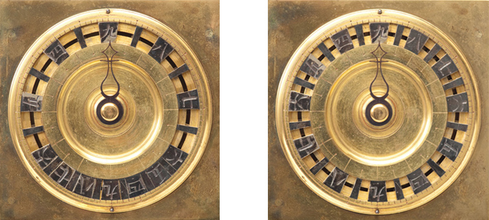 Segmented dial for the summer solstice (left) and winter solstice (right)