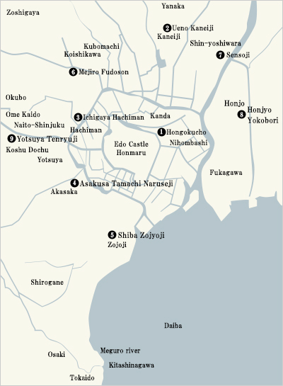 Locations of Hour Bells in the Edo Period