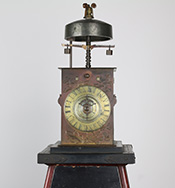 Lantern clock with a single foliot balance altered from a double foliot balance (owned by the Seiko Museum)